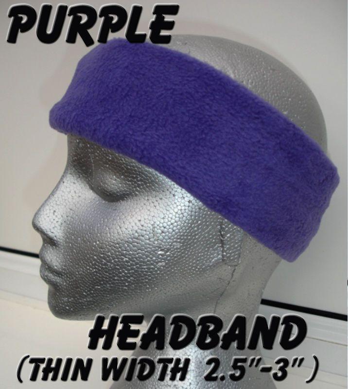 5e5673e3438 Thin PURPLE headband polar fleece head ear warmer golf sport skiing adult  cycle