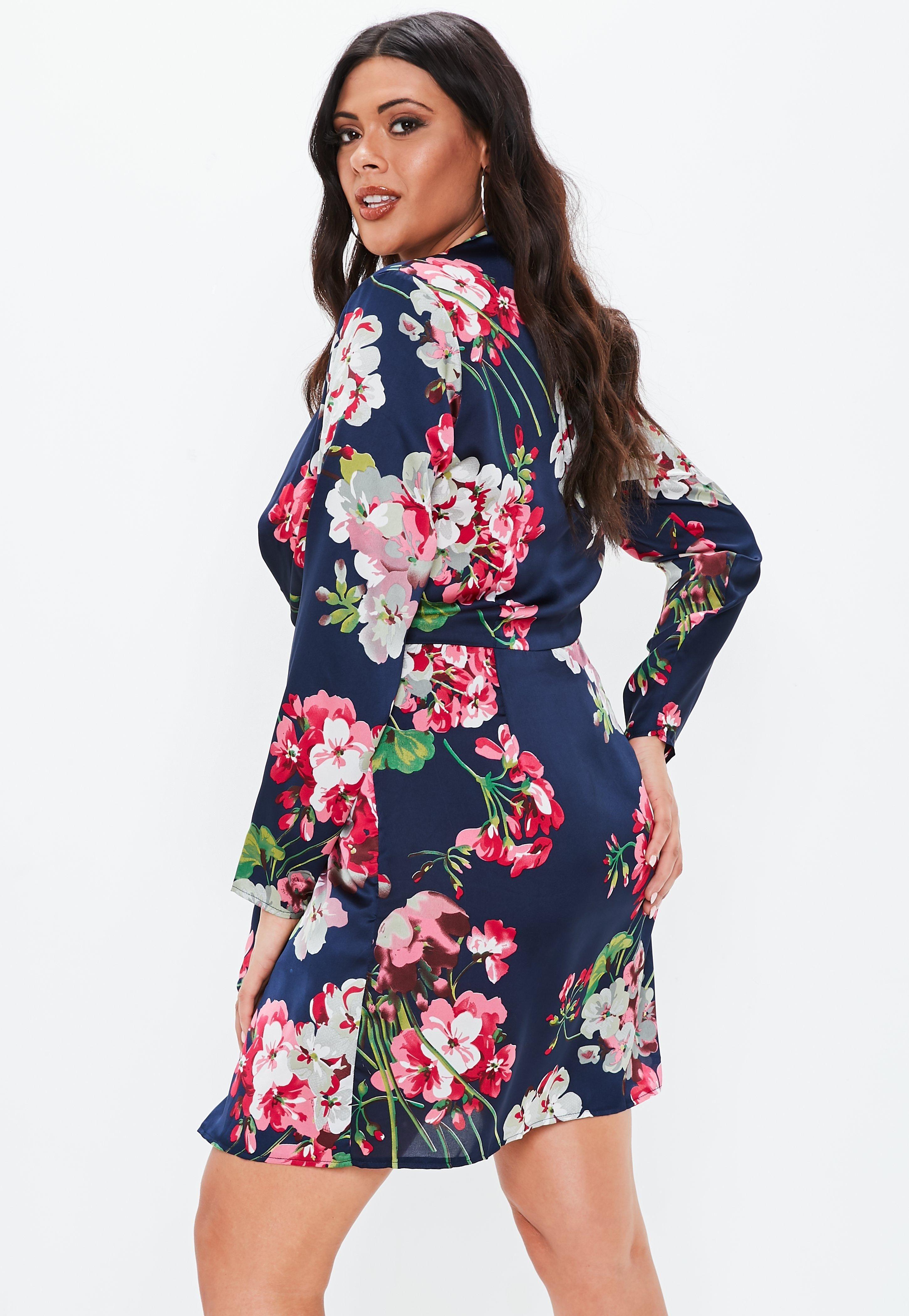 b680c3d482de Plus Size Navy Floral Twist Front Dress #Sponsored #Floral, #Ad, #Navy, # Size