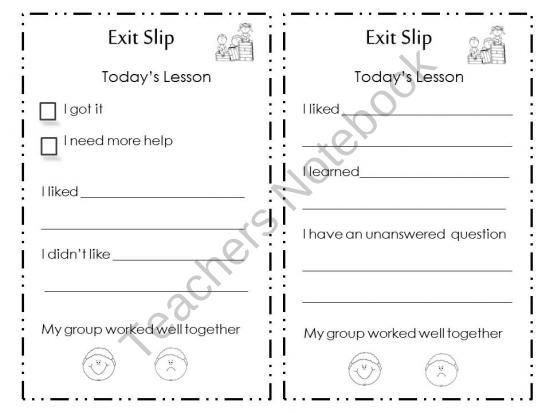 Free resource- Primary ticket out the door! Exit Slip for Primary - monthly pay slip