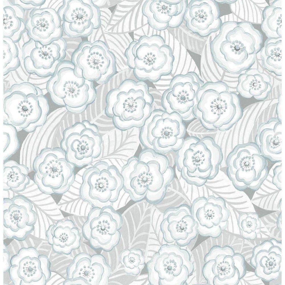 Nuwallpaper Oopsie Daisy Peel And Stick Wallpaper Gray In 2020 Blue Floral Wallpaper Floral Wallpaper Nuwallpaper