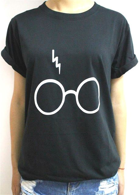 Women T Shirt Harry Potter Lightning Glasses Letters Print Cotton Casual Funny For Lady Black White Top Tee Hipster 59 Discount Popular
