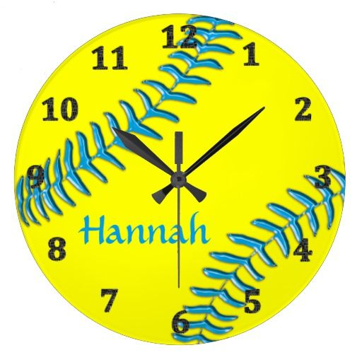 """Softball Clock with Your NAME and you can change the Background and Text COLORS. Instructions included in the product description, click """"Read More"""" on the Zazzle softball clocks page. CLICK HERE: http://www.zazzle.com/softball_clocks_your_name_background_text_colors-256493752107454104?rf=238147997806552929* Great softball room decor and Personalized softball shop here: http://www.zazzle.com/littlelindapinda/gifts?cg=196194074123766050&rf=238147997806552929*  CALL Linda for Changes…"""