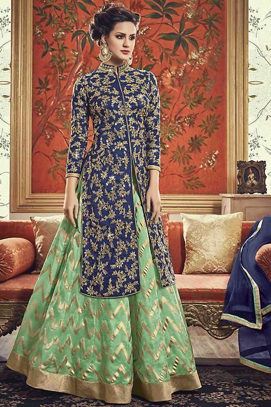 9b0ec18b6c Buy Blue and Green Banarasi Silk Jacket Style Party Wear Suit Online at  indi.fashion