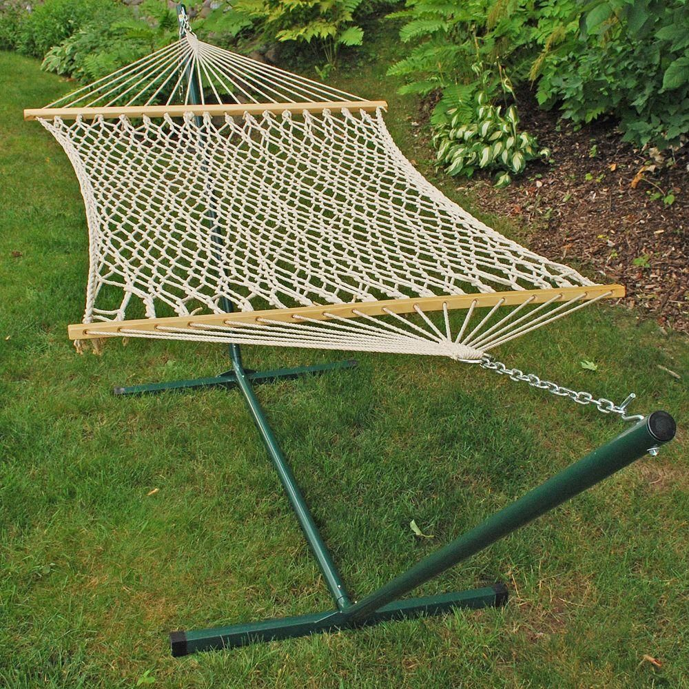 Algoma 11 Ft Rope Hammock And 12 Ft Steel Stand Combination 6250 The Home Depot Outdoor Hammock Rope Hammock Hammock Stand
