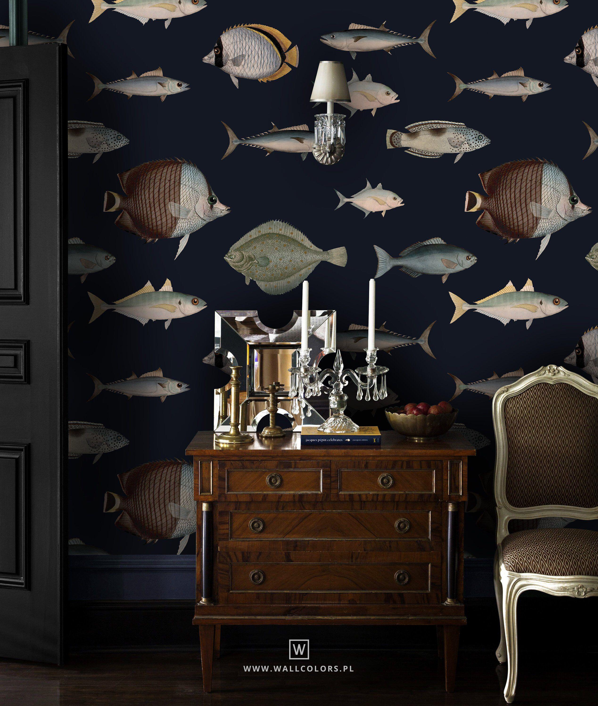 Vintage Wallpaper Peel Stick Removable Fish Pattern Sea Etsy Vintage Wallpaper Decor Fish Wallpaper