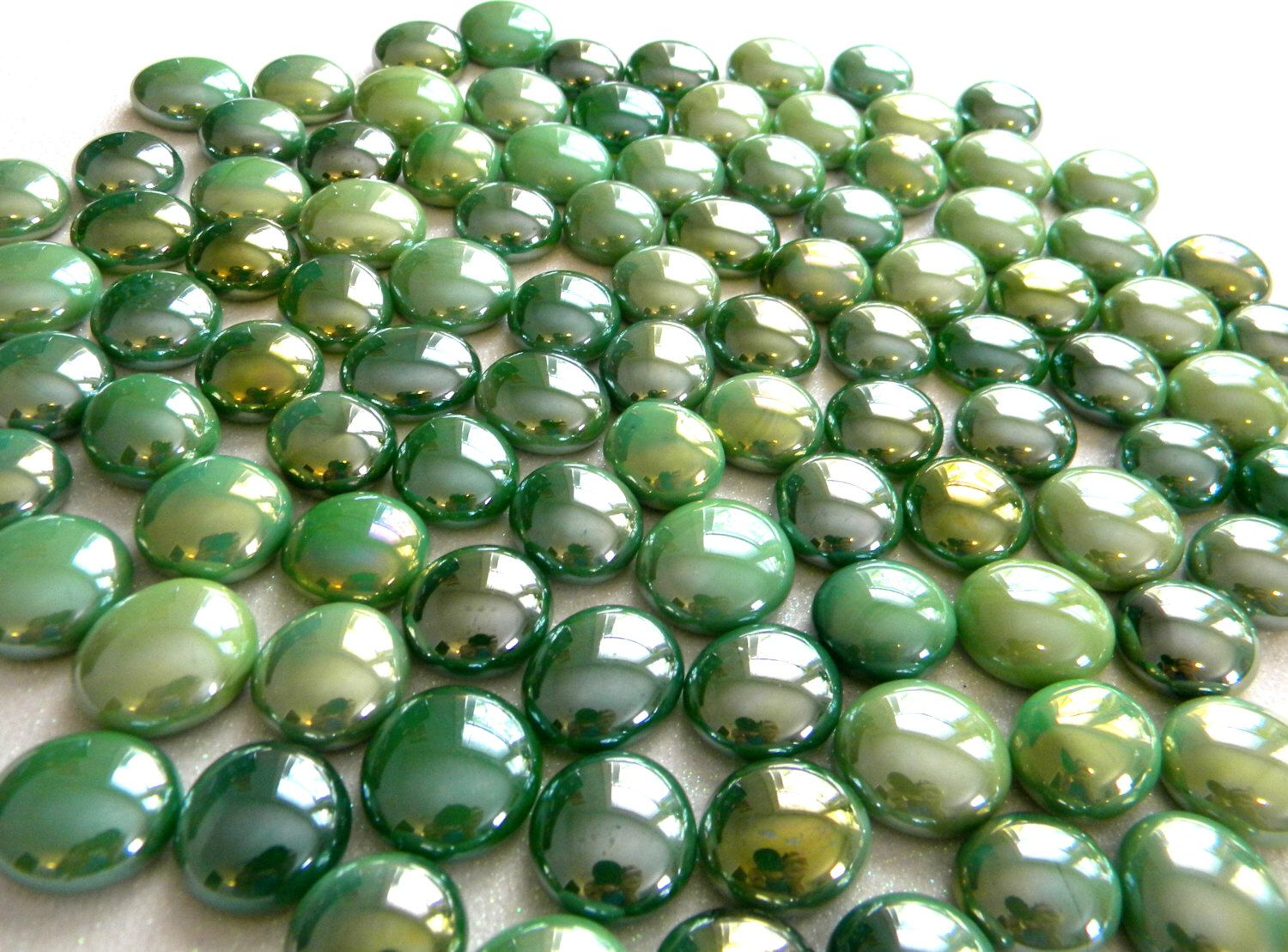 50 Glass Gems Shades Of Green Mosaic Supplies Half Marbles Cabochons Glass Nuggets By Starrynightstudios9 Glass Gems Mosaic Supplies 50th Glass