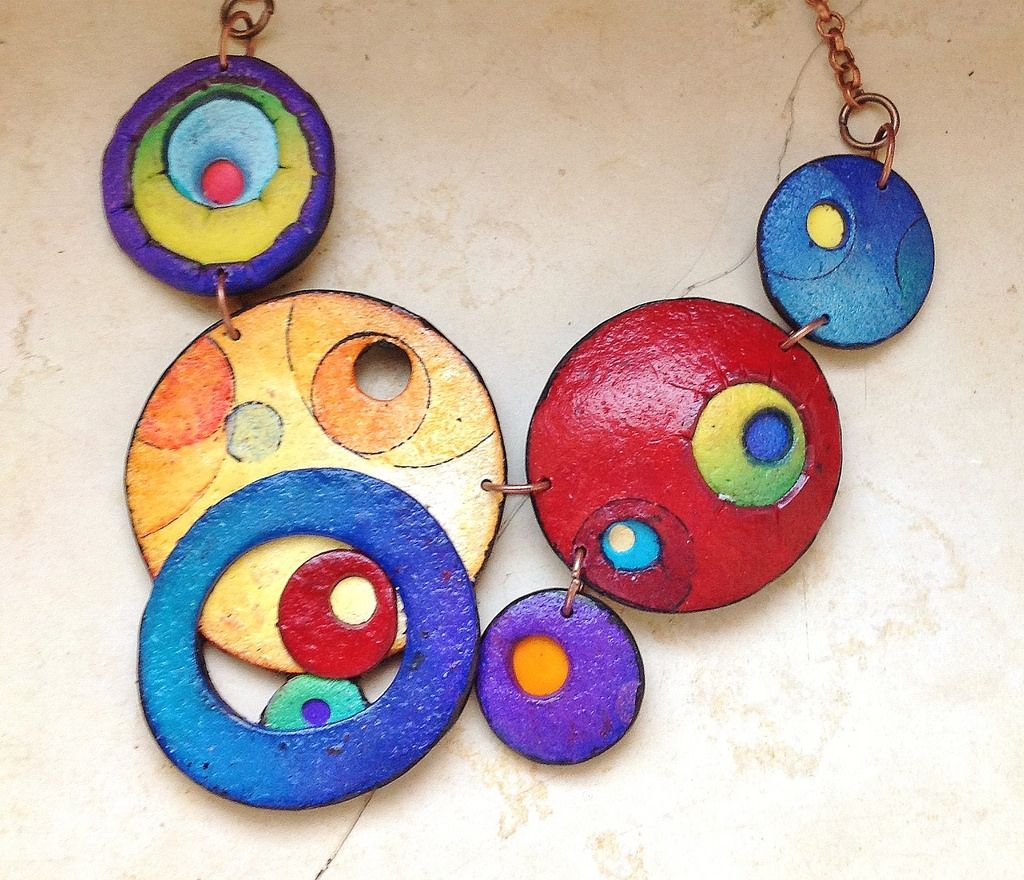 Colorful Worlds Polymer Clay Necklace By Cecilia Leonini