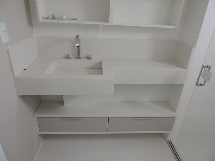 Banheiro QUARTZO BRANCO PRIME  Banheiros  Pinterest -> Pia De Banheiro Branco Prime
