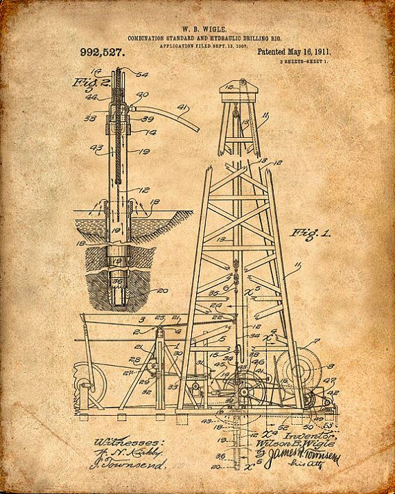 Oil Drilling Rig Patent Print Oil Drill Patent Art Print Oil