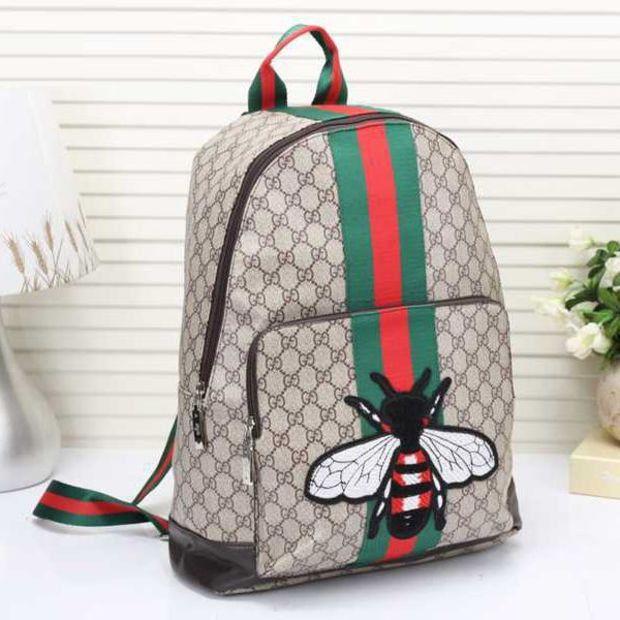 Gucci+Women+BEE+Pattern+Shoulder+Bag+Daypack+Backpack