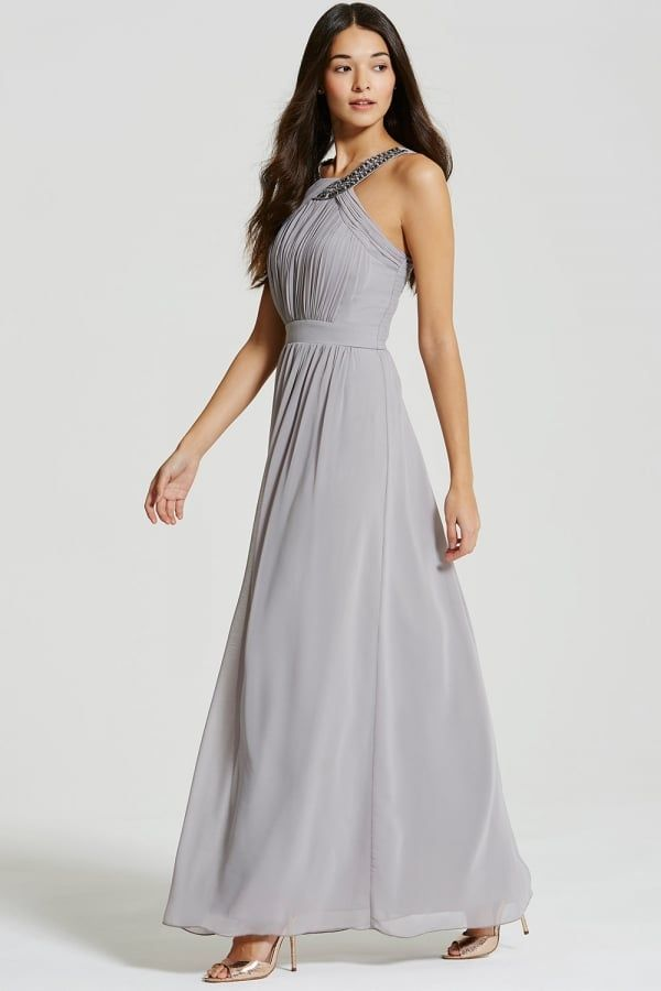 Little Mistress Grey Embellished Chiffon Maxi Dress | clothes for ...