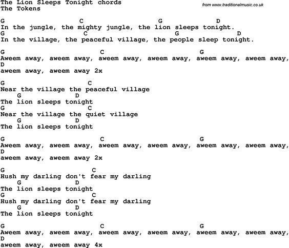 Song Lyrics With Guitar Chords For The Lion Sleeps Tonight Music
