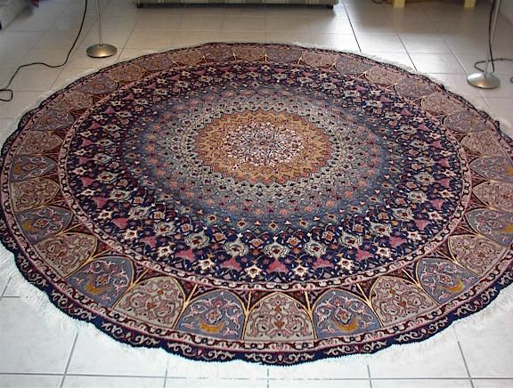 Large Round Tabriz Persian Rug With A Geometric Design Called