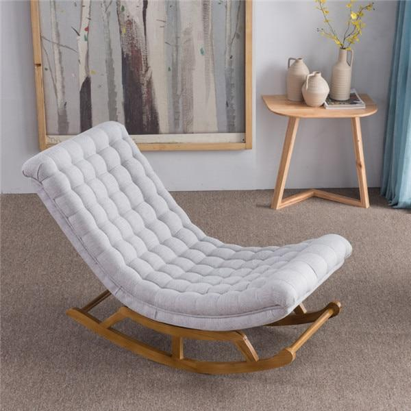 Modern Design Rocking Lounge Chair Fabric Upholstery And Wood For Home Saki Shop Upholstered Rocking Chairs Rocking Chair Lounge Chair