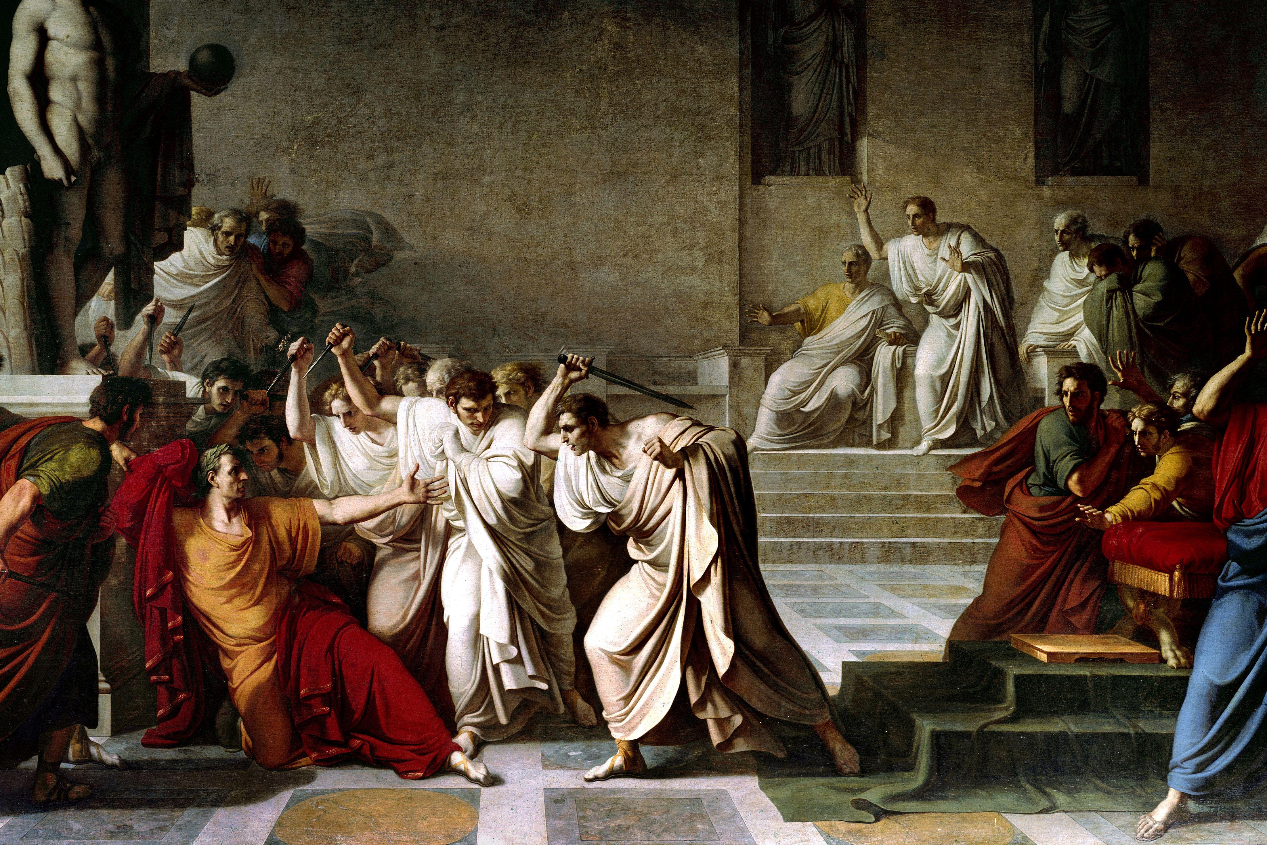MURDER DEATH ASSASSINATION OF JULIUS CAESAR ROME PAINTING ART REAL CANVAS PRINT
