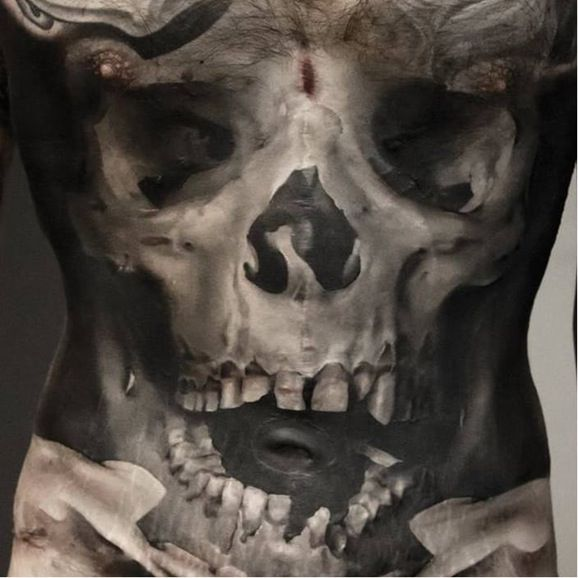 Skull With Jaw Dropped: Jaw-dropping Skull Tattoo By Neon Judas #NeonJudas