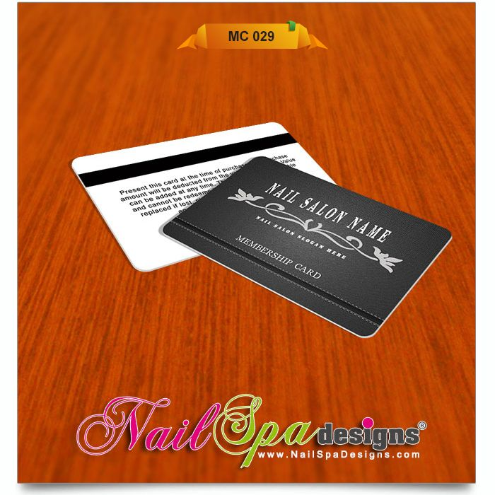 Membership Card Template For Nail Salon. Visit  Www.NailSpaDesigns.com/catalog For  Membership Card Template