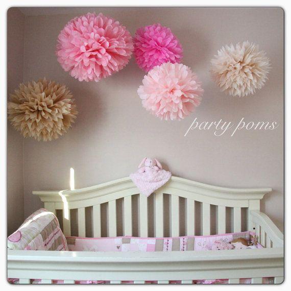 cherry blossom tissue paper pom poms.. nursery decor / party