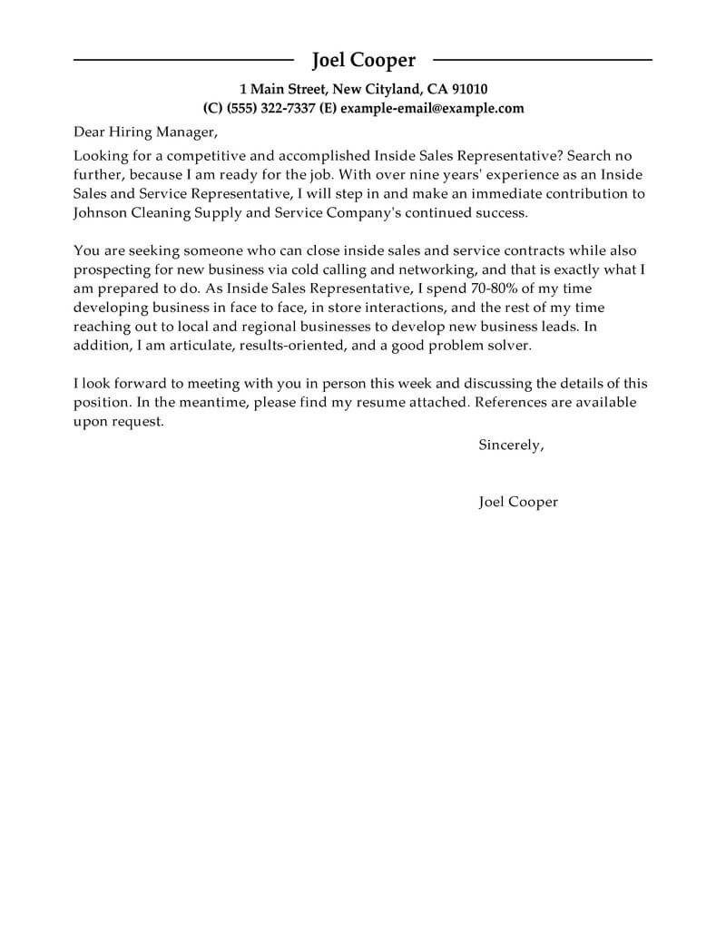 Sales Cover Letter Examples Free Inside Sales Cover Letter Examples Templates From Trus Resume Cover Letter Examples Sales Resume Examples Cover Letter Example