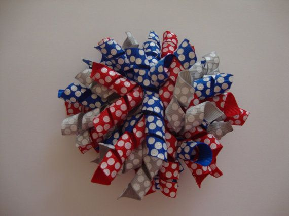 Red White & Blue Korker Bow by PerfectPolkaDot on Etsy