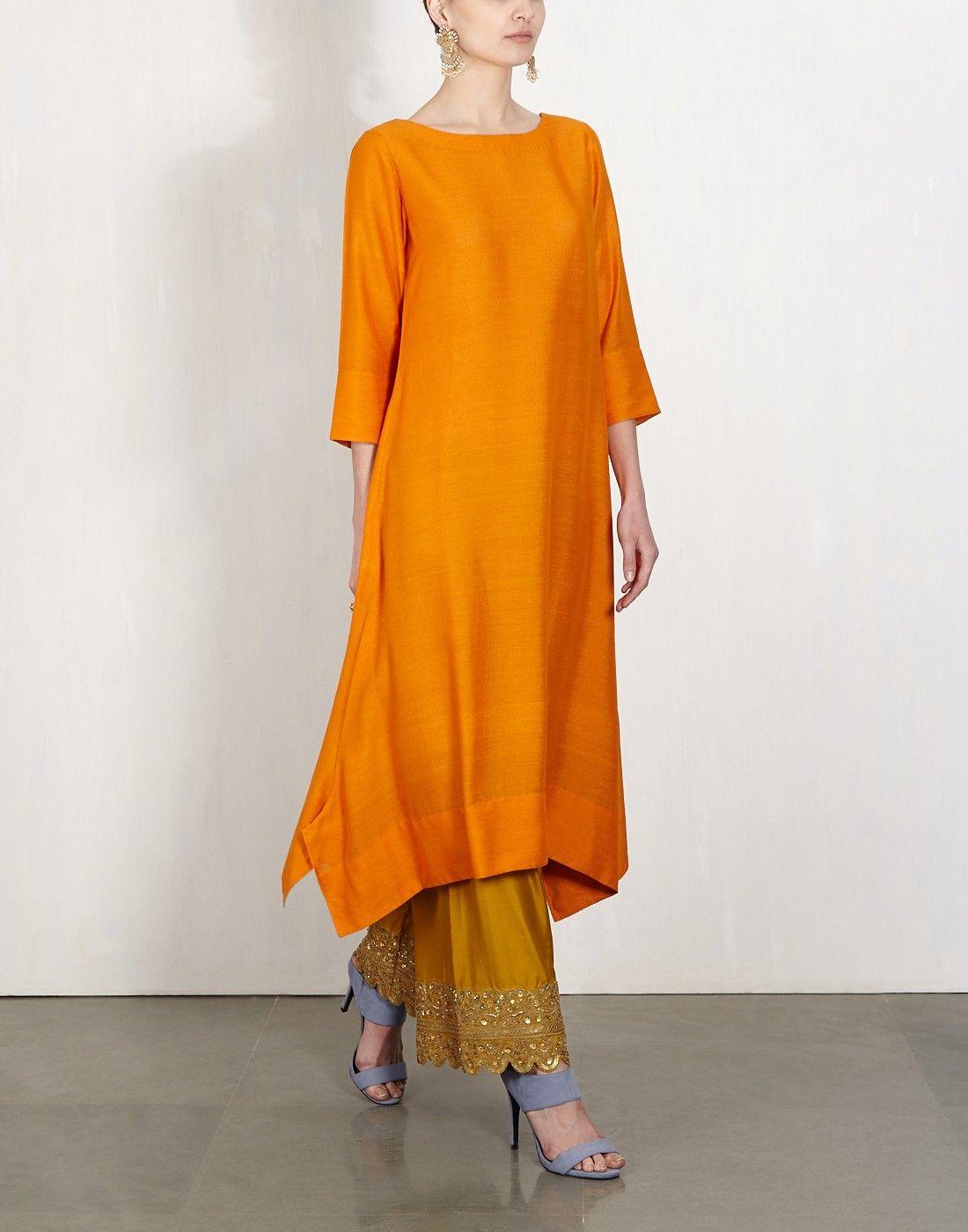 Orange Kurta With  Embroidered Pants-Lajjoo C