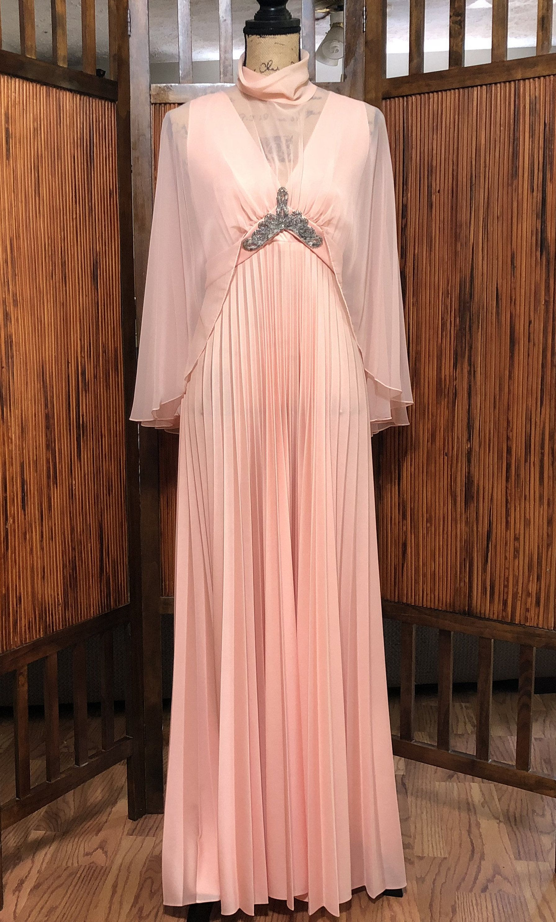 Vintage us pinky peach evening gown with cape by