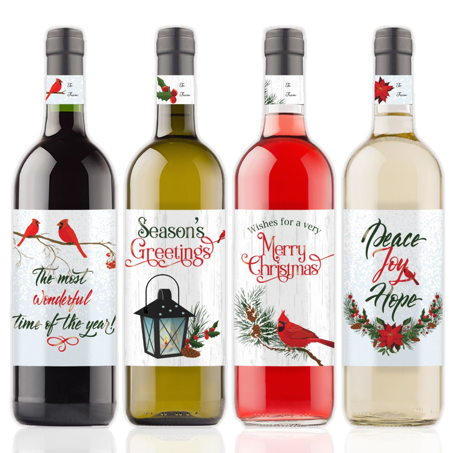 Vintage Inspired Cardinal Christmas Wine Bottle Labels Make For The Perfect Holiday Party Take Alon Wine Bottle Labels Wine Bottle Christmas Wine Bottle Labels
