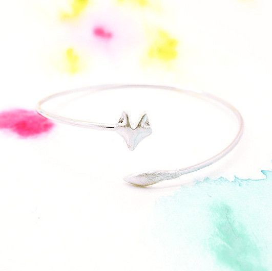 Adjustable Wrapping Silver Fox Bangle Bracelet