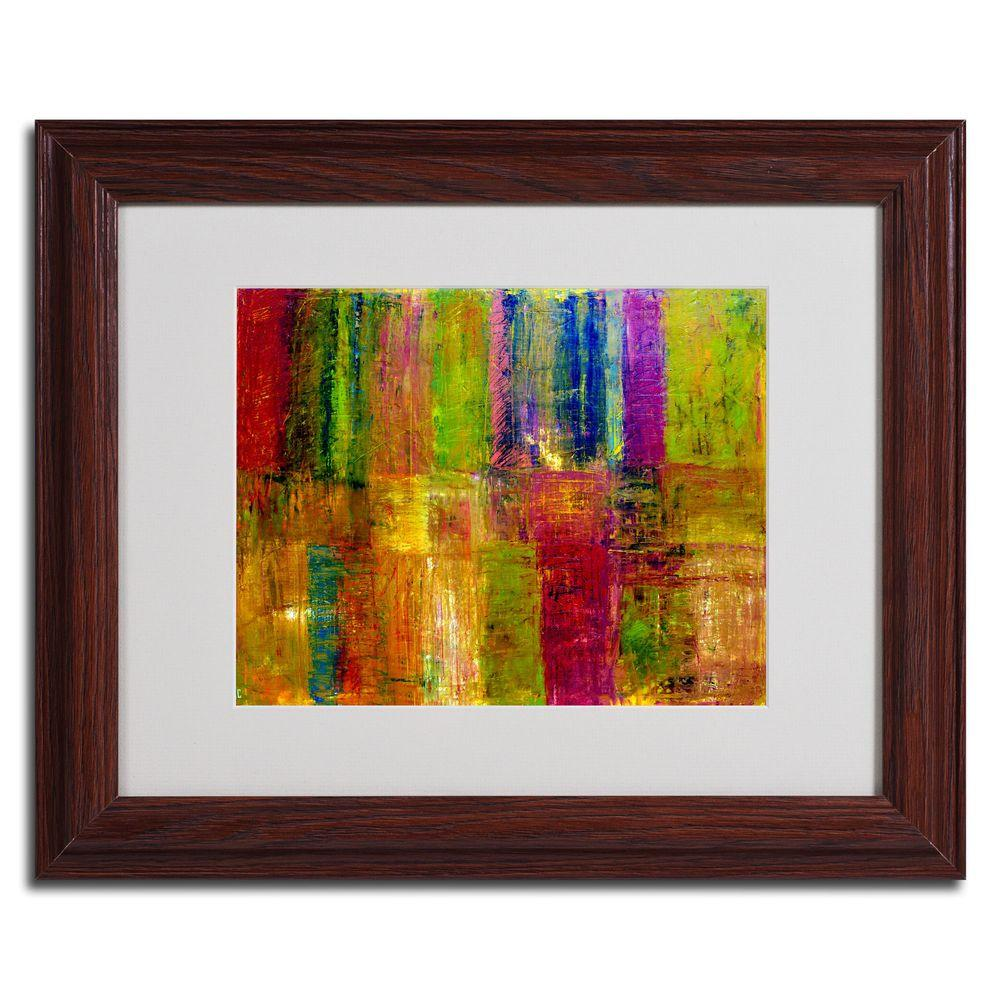 Trademark Fine Art 16 In X 20 In Color Abstract Dark Wooden Framed Matted Art Multi Abstract Canvas Art Framed Art Painting Prints