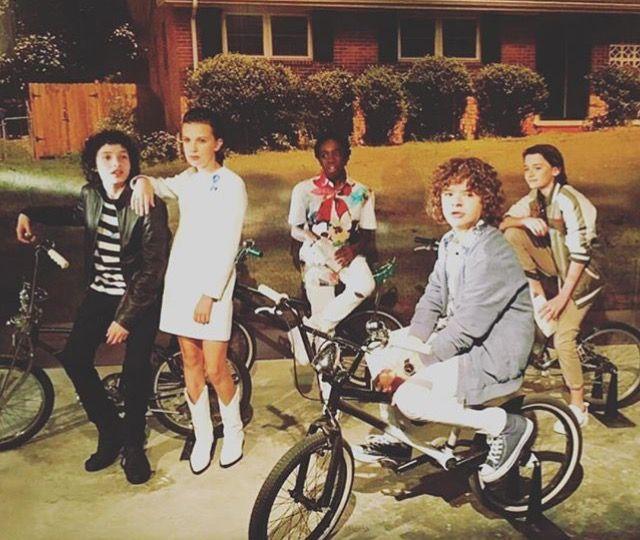 Stranger Things: Finn Wolfhard, Millie Bobby Brown, Caleb McLaughlin, Noah Schnapp and Gaten Matarazzo (photo via Noah's Instagram)