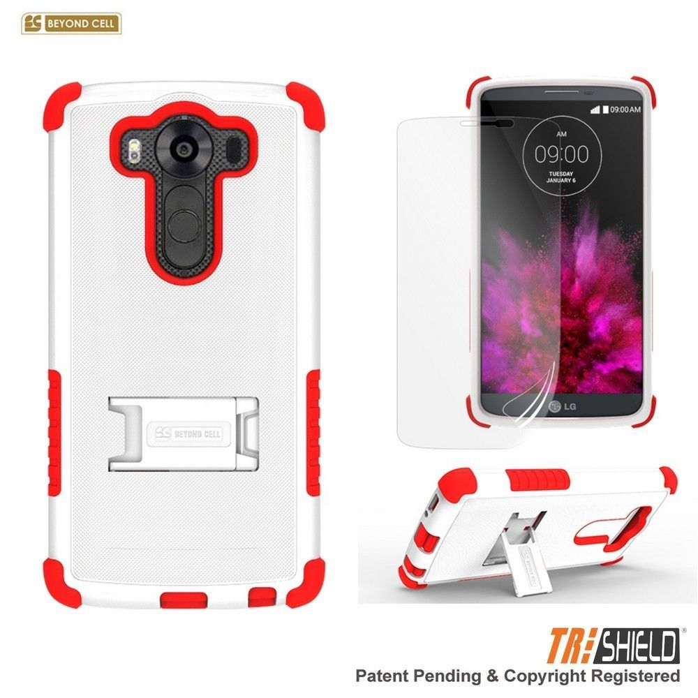 BYC Tri-Shield Kickstand LG V10 Case - White/Red