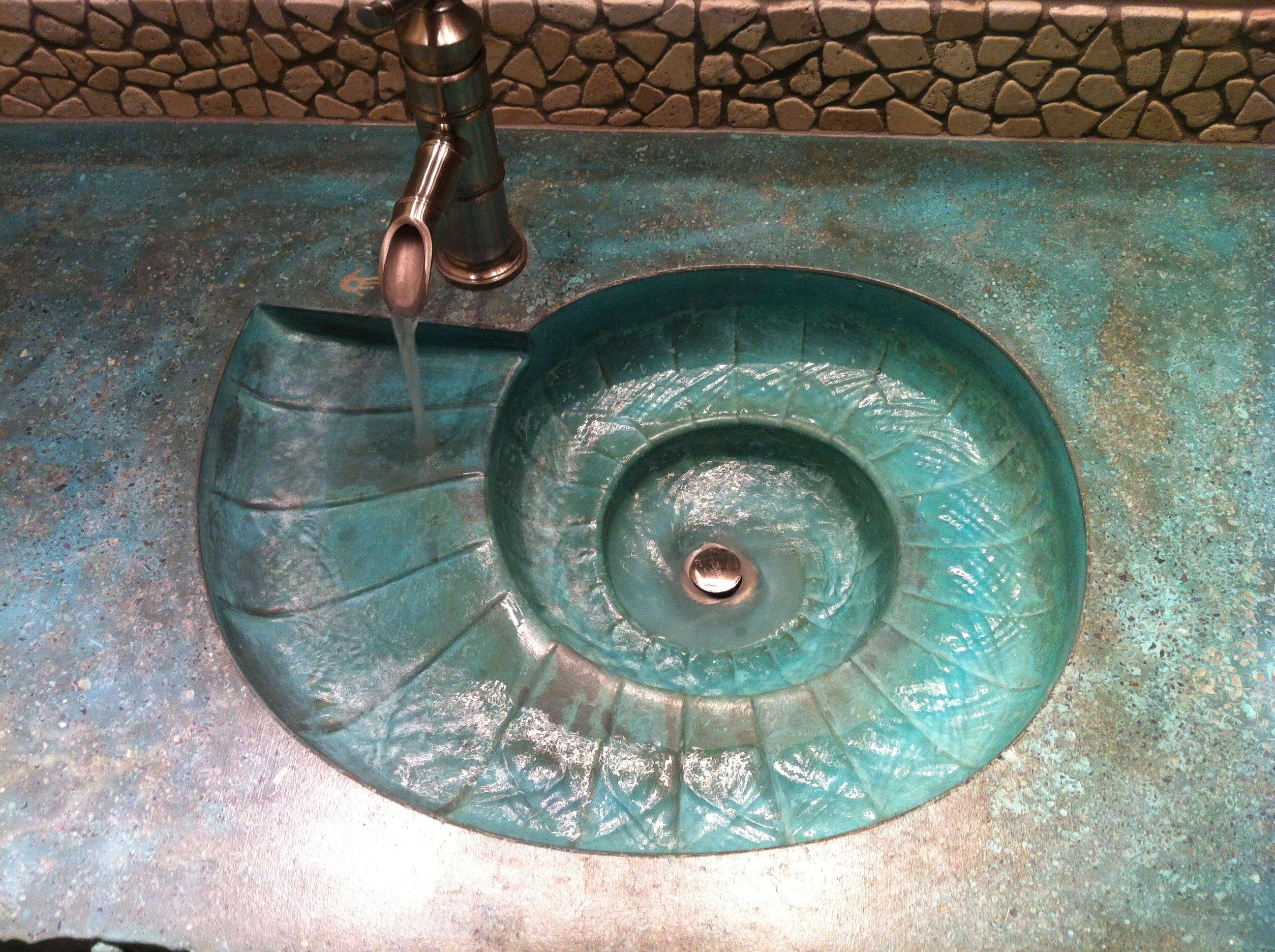 Concrete Countertop Rubber Sink Mold Sdp 46 Nautilus Shell Sink Nautilus Sink Concrete Sink