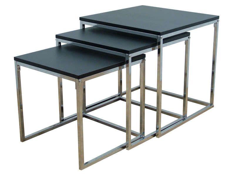 Bout de canapé VALSE coloris noir/chrome - Vente de Table basse