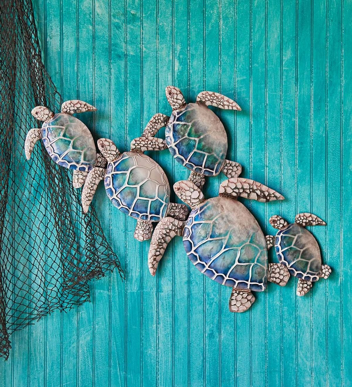 This Handcrafted Metal And Capiz Sea Turtles Wall Art Is A Stunning Recreation Of A Group Of Sea Tur Turtle Wall Art Sea Turtle Wall Art Outdoor Metal Wall Art