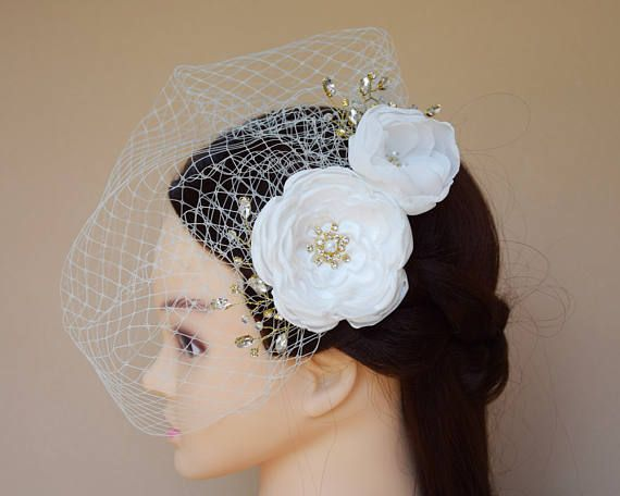 Birdcage Veil Blusher Veil bridal harif flower clip fascinator wedding hair style ideas fascinator