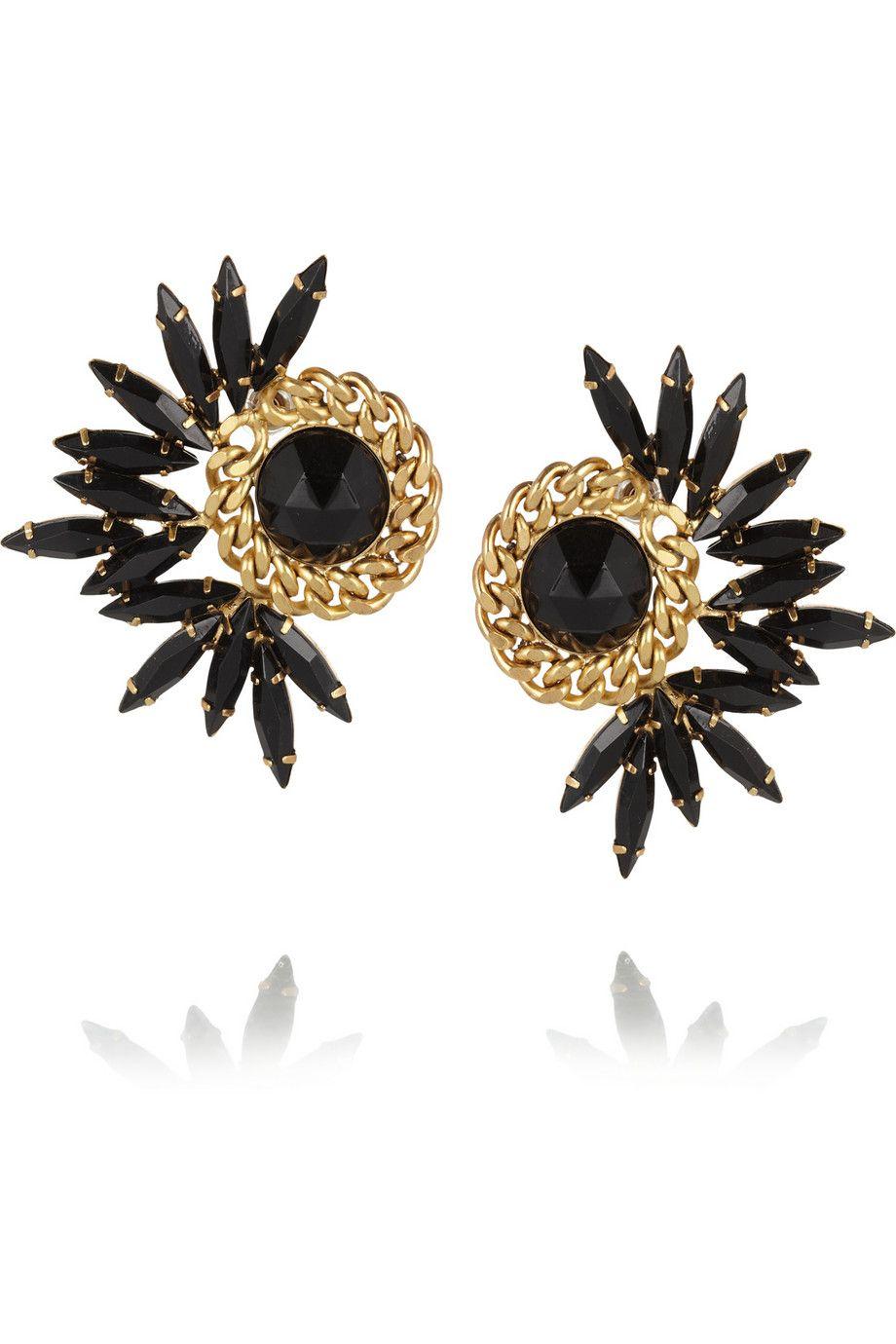 Elizabeth cole mohawk goldplated swarovski crystal earrings