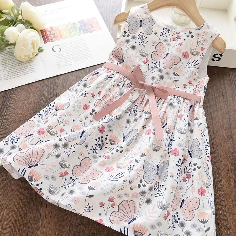 Girl Princess Dress New Summer Kid Girls Dress Floral Sweet Children Party Suits Butterfly Costume Children Clothing