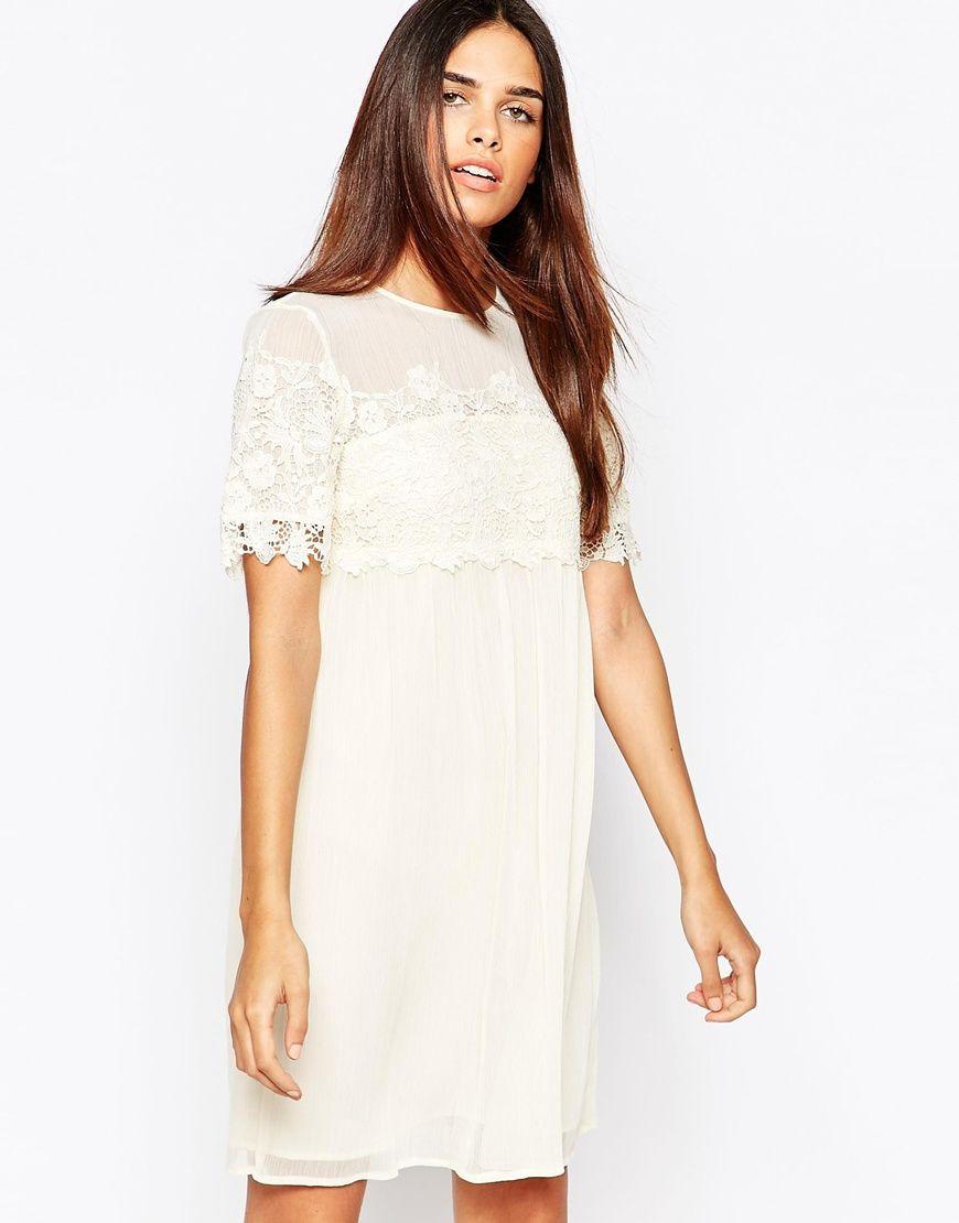 Warehouse – Gesmocktes Kleid mit Spitze   schnittmuster   Pinterest ...