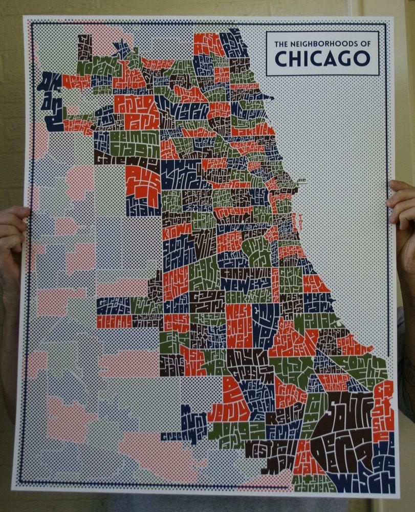 Image of Chicago Typography Neighborhood Map 22 The