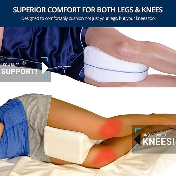 MEMORY FOAM CONTOUR LEG PILLOW Orthopaedic Pillow Back Hips Knee Support Cover