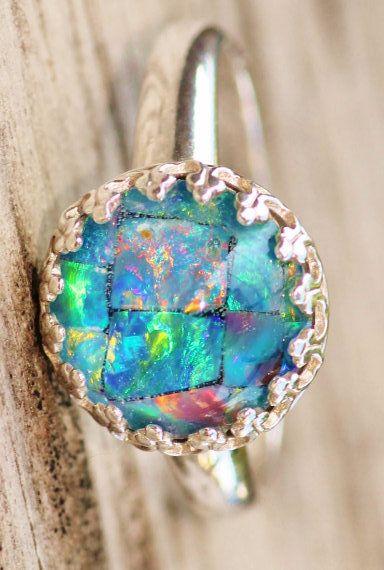 Genuine Australian Opal Ringmosaic Opal Triplet Ringsterling Etsy Australian Opal Ring Sterling Silver Opal Ring Opal Jewelry