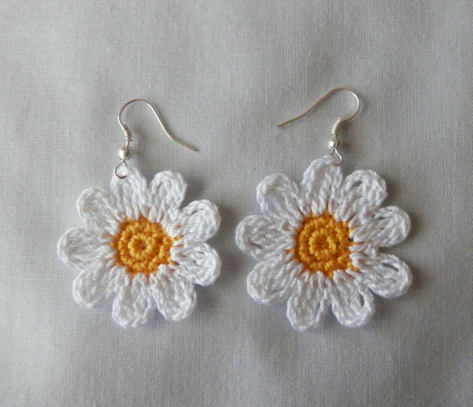 Crochet Daisy Earrings