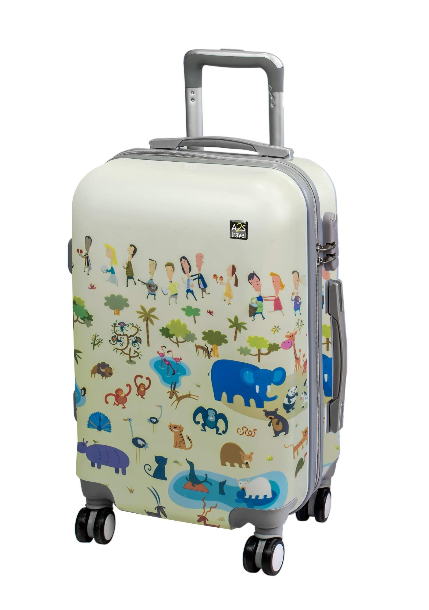 25f721b0b6fe A2S Cabin Luggage Lightweight & Durable Hard Shell Printed Suitcase ...