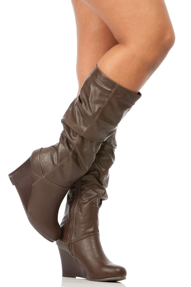 31bfa8143d6 Brown Faux Leather Slouchy Calf Length Wedge Boots @ Cicihot Boots ...