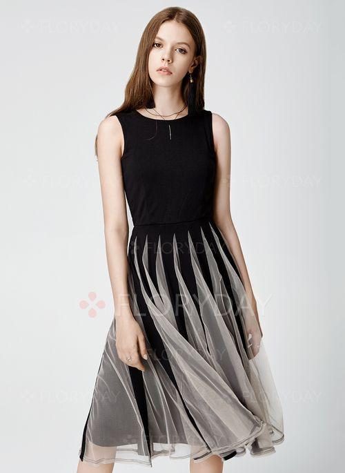 Vestidos - $43.13 - Poliéster Bloques de colores Sin mangas Hasta las rodillas Casuales Vestidos (1955107552)