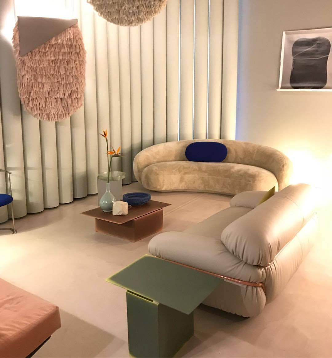 Love This 80s Retro Inspired Living Room With The Curved Sofa