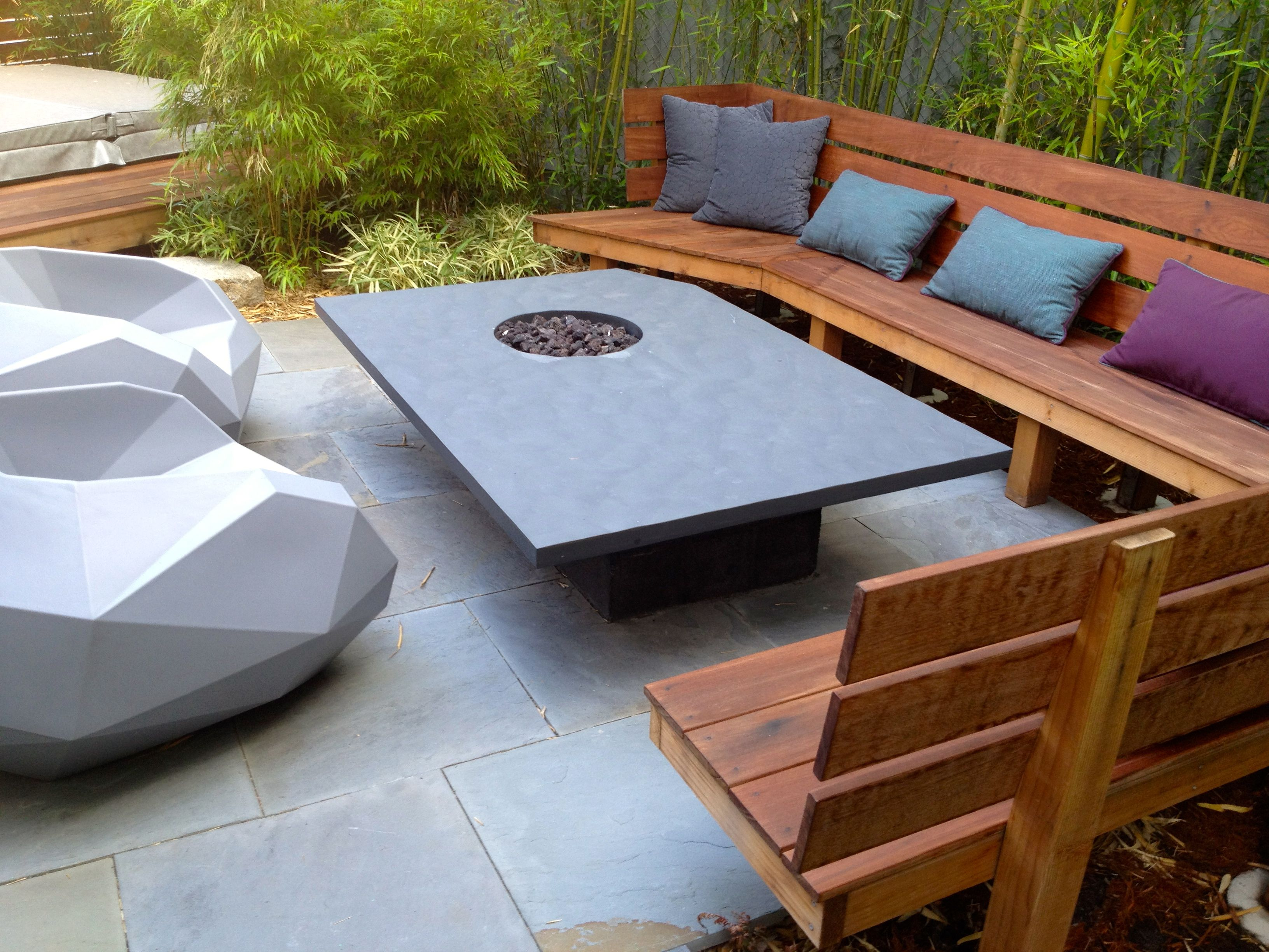 The custom black slate table with gas fire pit ipe 39 bench with seating for 13 party by sculpt Fire pit benches