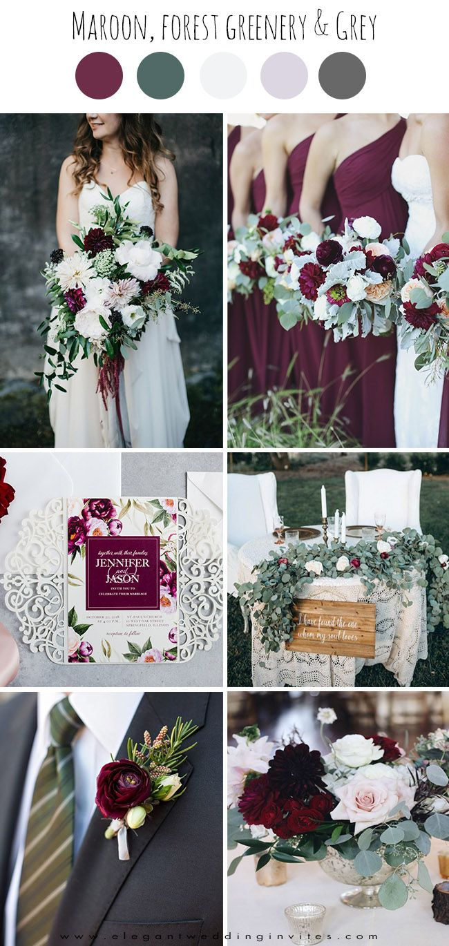 Top 6 Burgundy & Dark Red Fall Wedding Colors with Matching Invites