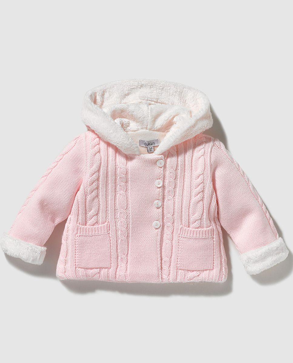 5087ff21b4526 Chaqueta de bebé niña Dulces en rosa con capucha