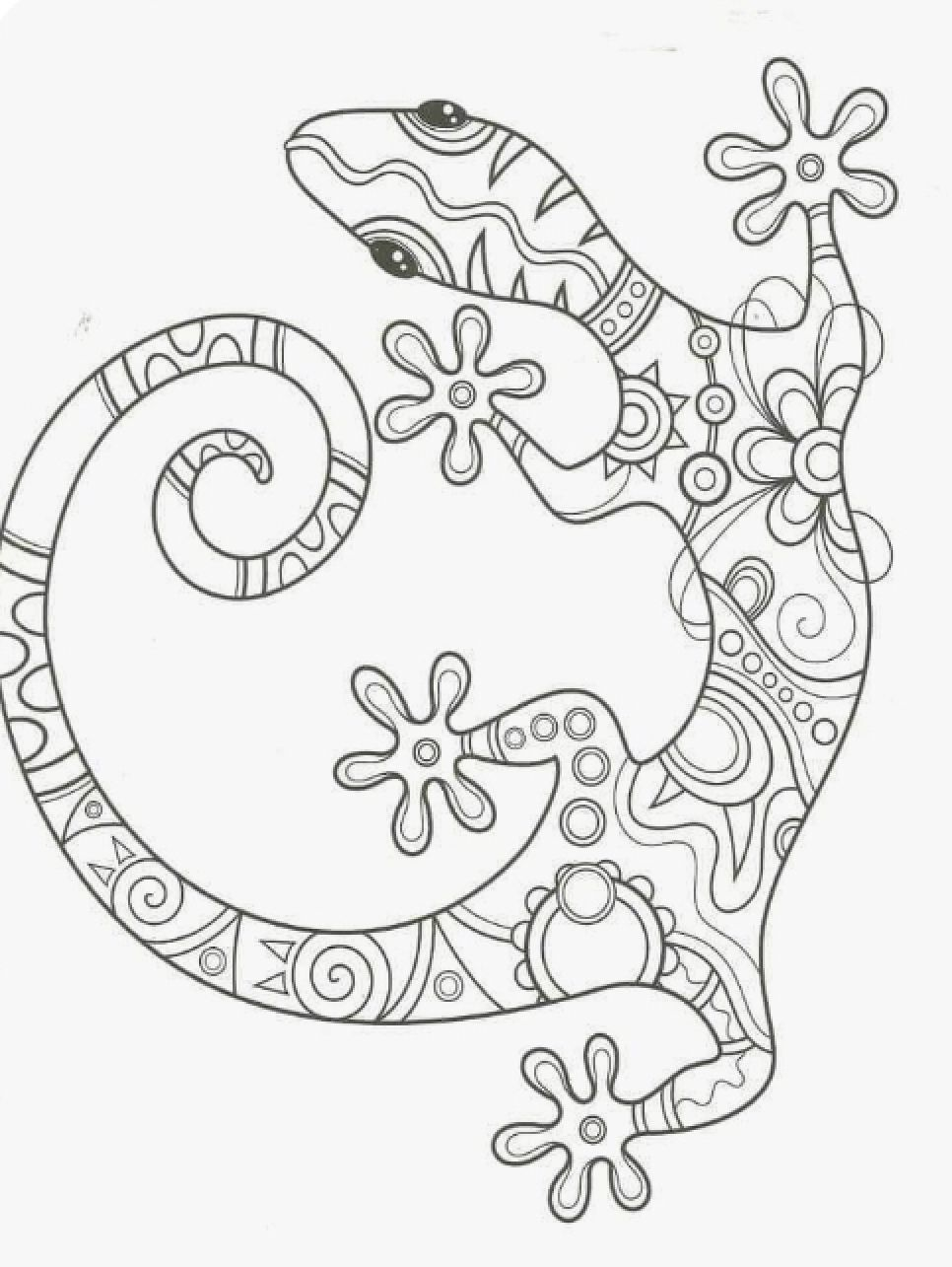 Gecko Mandala Coloring Pages Animal Coloring Pages Detailed Coloring Pages